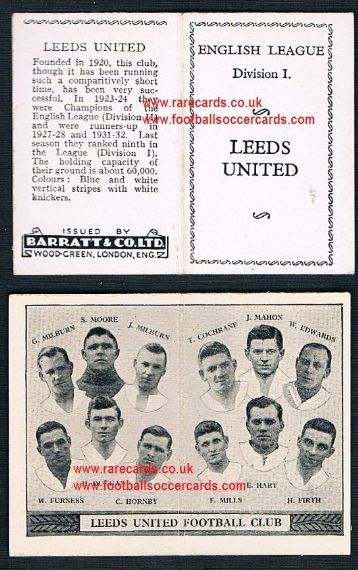 1934 Barratt English League Div 1 folder Leeds United